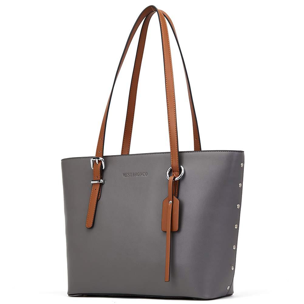 WESTBRONCO Women Leather Handbags Purses Designer Tote Shoulder Bag Top Handle Bag for Daily Work Travel