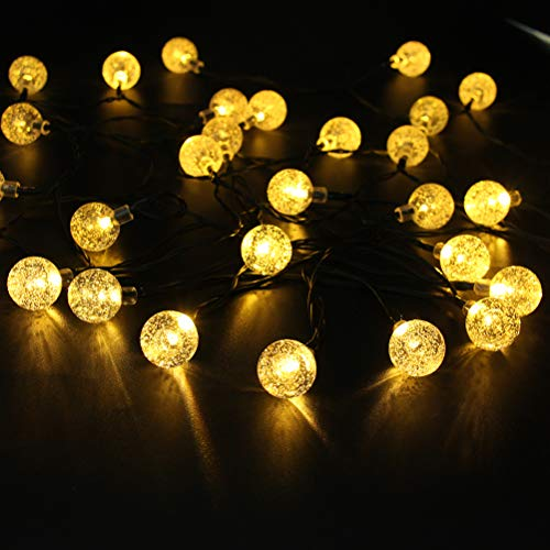 Loyps Solar Globe String Lights 30 LED 21ft 8 Mode Outdoor Bubble Crystal Ball Christmas Decoration Waterproof Solar Powered Fairy Lights for Xmas Garden Patio Home Holiday Party Wedding (Warm White) by Loyps (Image #1)
