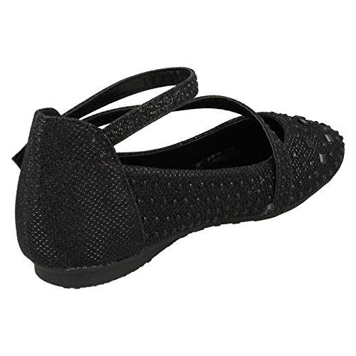 Mädchen Spot On Glitter Party Schuhe Schwarz