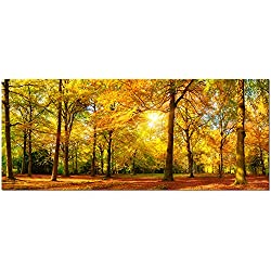 Visual Art Large Autumn Trees Forest Canvas Wall Art Prints Painting Printed on Canvas,Framed And Stretched,Landscape Home Decor,Living Room Bed Room Hotel Wall Mural Decor (Large, Gold Forest)