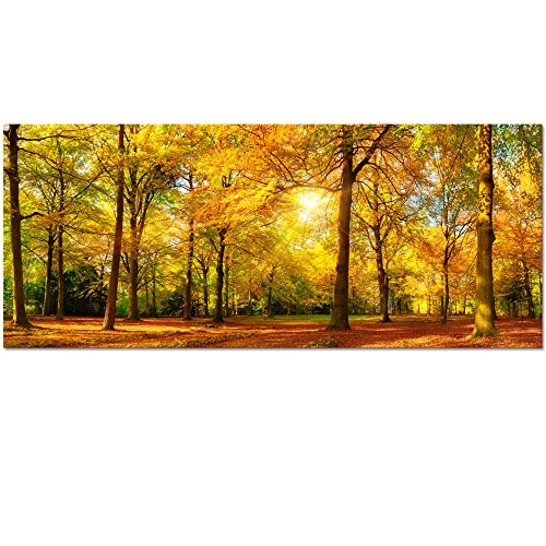 Visual Art Large Autumn Trees Forest Canvas Wall Art Prints Painting Printed on Canvas,Framed And Stretched,Landscape Home Decor,Living Room Bed Room Hotel Wall Mural Decor (Large, Gold - Tree Wall Autumn Art