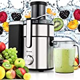 Keland US Plug 85mm Diameter Large Capacity Juicer 2.5L Cup 1000W Stainless Steel Cutters Juice Extractor Juicer (Silver, US Stock)