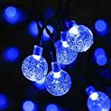 WONFAST Solar String Lights, 20ft 30 LED Crystal Ball Solar Powered Outdoor Globe Fairy String Lights for Homes,Christmas,Gardens,Wedding,Party Decoration (Blue)
