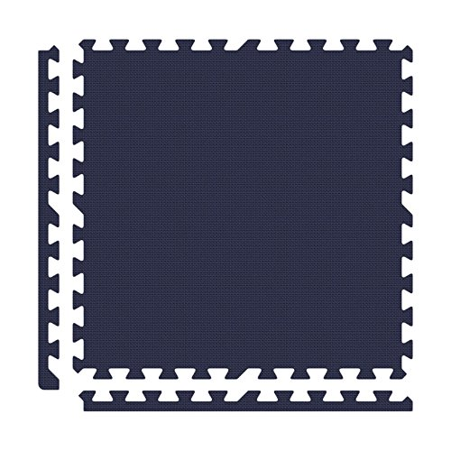 Alessco EVA Foam Rubber Interlocking Premium Soft Floors 12' x 12' Set Navy Blue