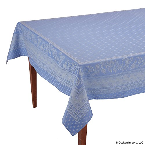 Occitan Imports Durance Blue Jacquard Rectangular French Provencal Tablecloth, 63 x 98 (6-8 people) by Occitan Imports