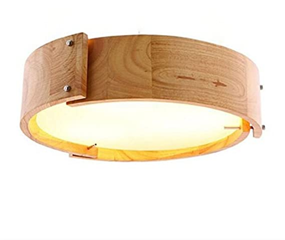 Techo Redondo LED de madera Roble häng lámpara comedor Oriental japonés Monótono lámpara colgante Leuchten Ventana restaurante Beige Luz Interior en ...