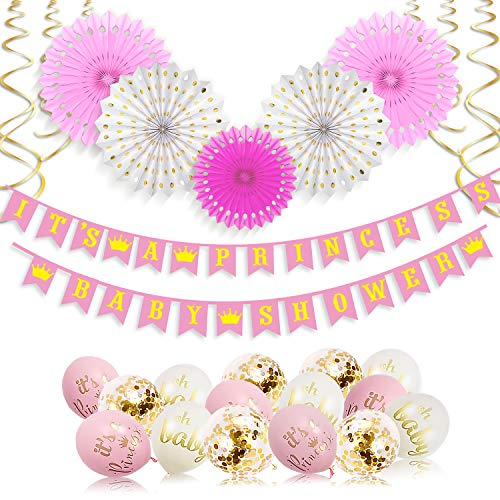 It's A Princess Baby Shower Decorations for Girl - 55 Piece Girls Baby Shower Decoration Pink/White/Gold/Rose Gold