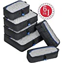 Travel Packing Cubes 6 Set, 4 Various Sizes Packing Organizers for Backpack - ZOMAKE Travel Accessories