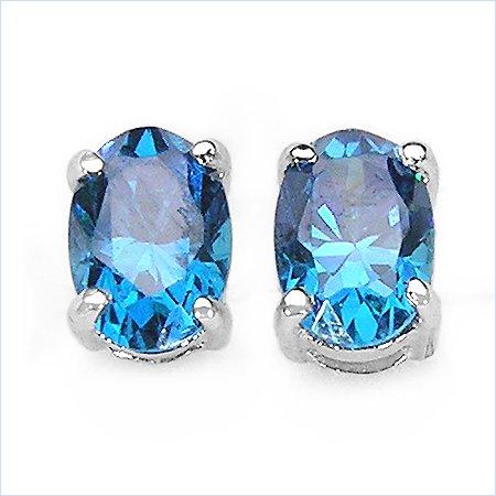 Bijoux Schmidt-Bleu zircon cubique / ovale Argent-Rhodium-925-3, 12cts