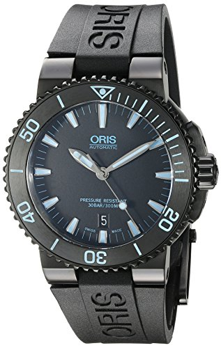 Oris Men's 'Aquis' Swiss Automatic Stainless Steel and Rubber Diving Watch, Color:Black (Model: 73376534725RS) Power Reserve Rubber Strap