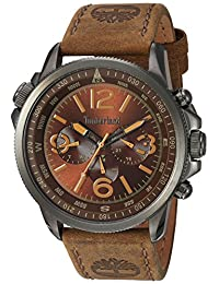 Timberland Men's 'CAMPTON' Quartz Stainless Steel and Leather Dress Watch, Color:Brown (Model: TBL13910JSU12)