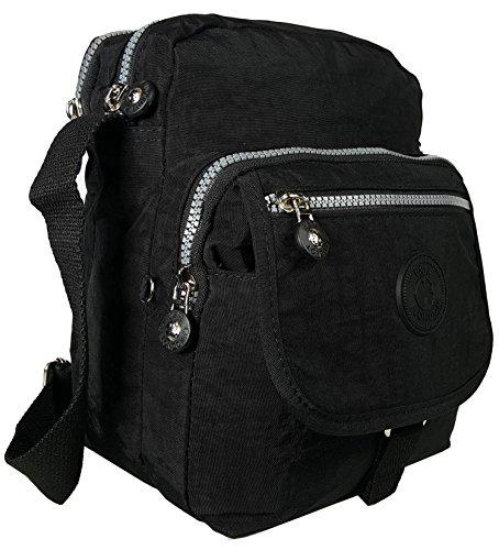 05 kl sac 6 Croix Sac de Corps pour tissu Style bandoulière Sac léger Poches Black à femme Messenger en multiples GFM Z1UHTq1