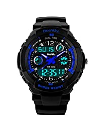 Kid Watch Multi Function Digital LED Sport 50M Waterproof Electronic Analog Quartz Watches for Boy Children (Blue)