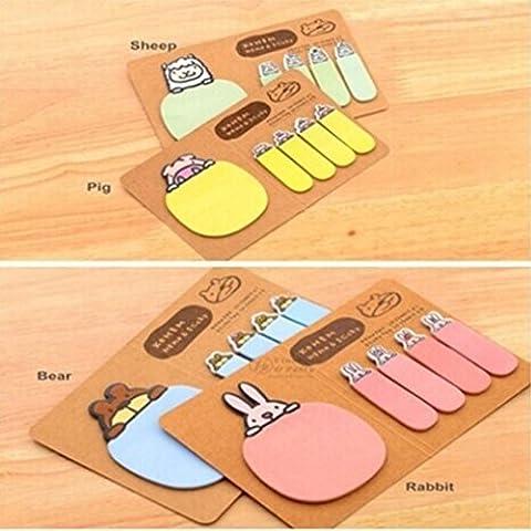 Oksale® Cute Animal Gift Stationery Kraft Paper 4 Styles Mini Sticky Notes Memo Pad - Star Shaped Sticky Notes