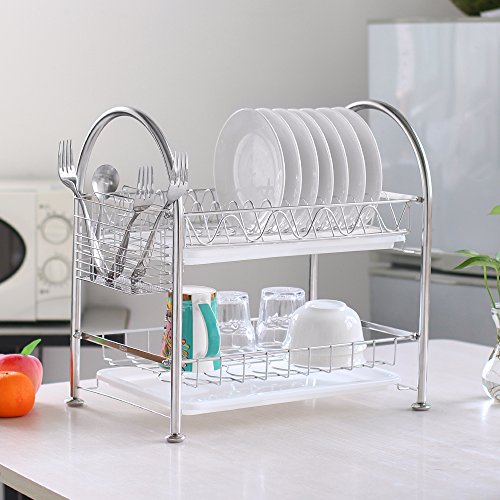 NEX Dish Rack Stainless Steel Two Tier Draining Rack Rustless Storage Rack with Chopstick - Two Rack Dish Tier