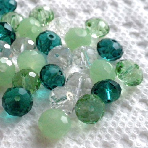 Beading Station 30-Piece Mix Faceted Crystal Rondelle Beads, 8 by 6mm, Emerald
