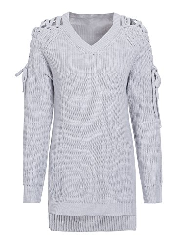 vider simplee Gris women's manche pull jumper lace long pull v cou over wtaqrtP