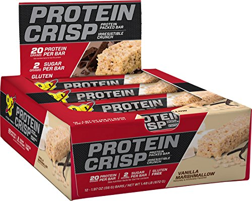 Vanilla Meal - BSN Protein Crisp Bar by Syntha-6, Low Sugar Meal Replacement Whey Protein Bar, 20g of Protein, Vanilla Marshmallow, 12 Count (Packaging may vary)