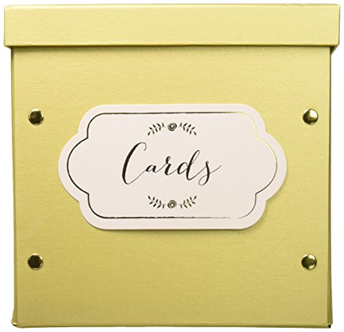 Kate Aspen Collapsible Greeting Card Envelope Box, 10.2W x 10.2D x 10.2H, Gold Shimmer (Favor Boxes Card Holders Place)