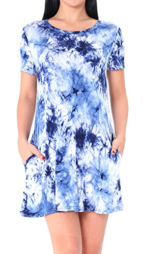 Nicias Womens Tunic Casual Loose Swing T Shirt Dress Short Sleeve With Pockets  Large  Sapphire