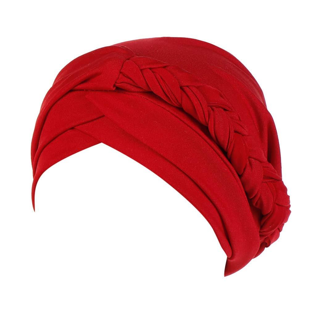 Mococity Hotsellhome Women's Solid Plait India Beanie Hat Muslim Ruffle Cancer Chemo Scarf Turban Head Wrap Skull Cap for Hair Loss Alopecia