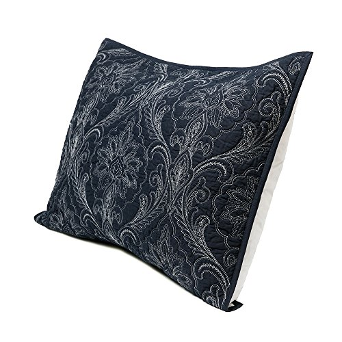(Elegant Life Super Soft Cotton Damascus Solid Embroidery Pillow Shams, Standard Size(20''x26''), Navy)