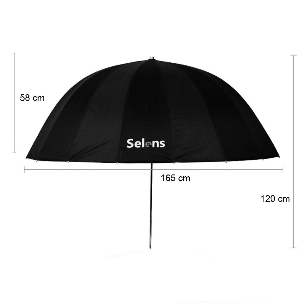 Selens 65 Inch 16 Rods Professional Photography Photo Studio Parabolic Reflective Lighting Umbrella, 23 Inch Depth Black/Silver by Selens (Image #2)