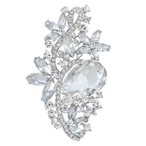 EVER FAITH Bridal Silver-Tone Flower Tear Drop Brooch Clear Austrian Crystal by EVER FAITH