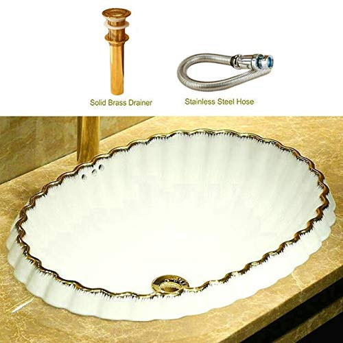 Ochoos Sea Shell Like Golden Lace White Porcelain Oval Ceramic Semi-Counter Bathroom Sink With Overflow - (Color: Package 1)