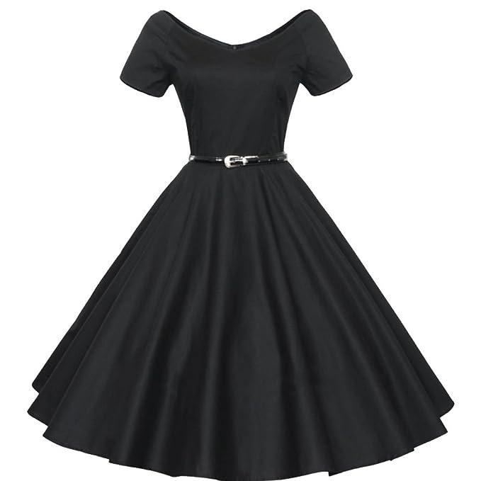 soxonthew® Womens 1950 del vintage retro rockabilly fiesta Swing vestido de noche Negro negro 40: Amazon.es: Ropa y accesorios