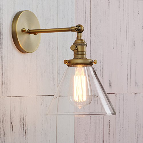 Permo Single Sconce with Funnel Flared Glass Clear Glass Shade 1-light Wall Sconce Wall Lamp (Antique) by Permo