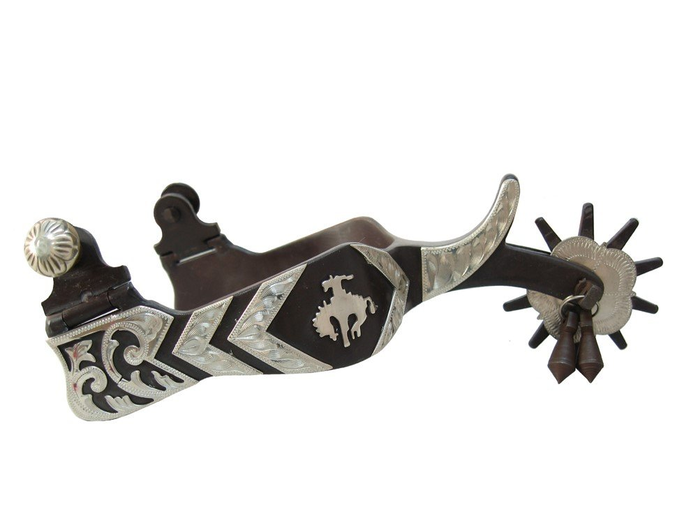AJ Tack Wholesale Western Show Spurs Bucking Horse Silver Engraving Jingle Bobs Chap Guard Mens