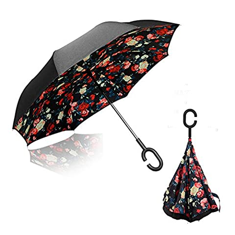 Double Layer Inverted Umbrella, Pococina Hands Free Windproof UV Protection Folding Reverse Umbrella with C-Shaped Handle for Car and Outdoor Use