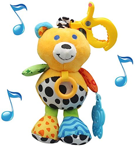 Wingingkids Toys For Boys and Girls, Fun Musical Soft Plush Baby Rattle Stroller and Toddler Toys, Bear Rattle with Soft Teether, Mirror, Over 30 Melodies, Gender Neutral Baby Shower Toys for Newborns