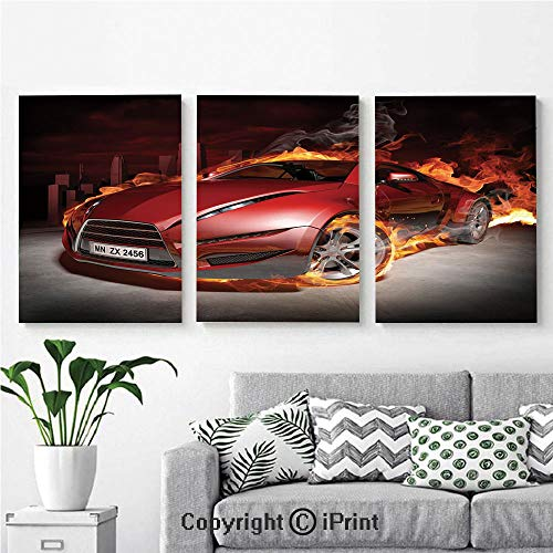 (Modern Salon Theme Mural Red Sports Car Burnout Tires in Flames Blazing Engine Hot Fire Smoke Automobile Decorative Painting Canvas Wall Art for Home Decor 24x36inches 3pcs/Set, Red Black Orange)