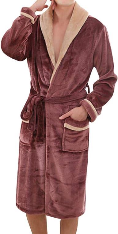 Susenstone Peignoir Homme Polaire 100% Coton, en Tissu ÉPonge De Bain Pyjama Homme Flanelle Hiver Chaud éPais Robe Chambre