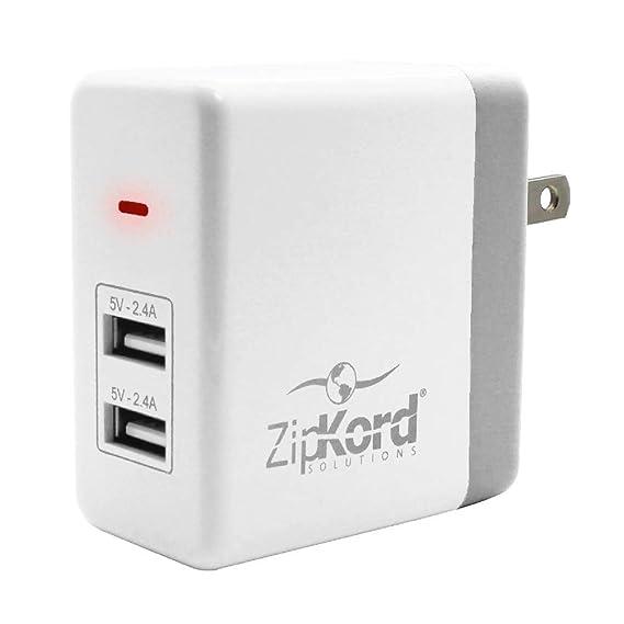 Amazon.com: ZipKord - Adaptador de pared doble USB de 4,8 A ...