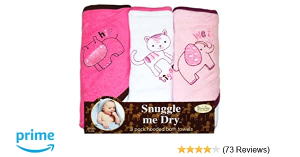 Girls Wild Animal Design Hooded Bath Baby Infant Towel Set 3 Pack Knit Terry