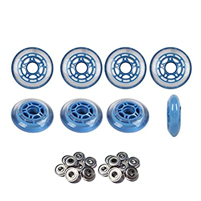 Player's Choice Roller Hockey Wheels 80mm 78A Soft Inline Skate Blue 8 Pack with ABEC 5 Bearings : Sports & Outdoors