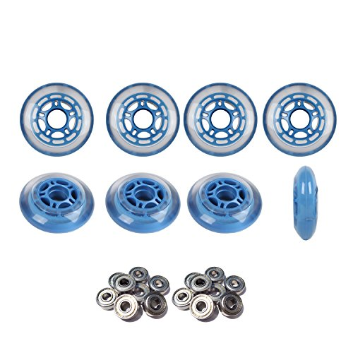 Roller Hockey Wheels HILO SET 76mm 80mm Soft Blue Inline Skate Abec 9 Bearings by Player's Choice