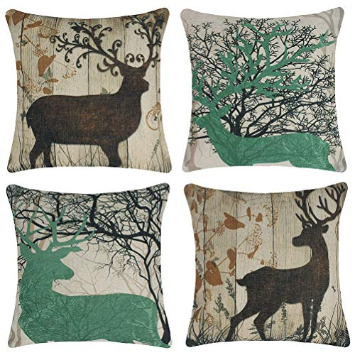 Jinbeile Set of 4 Vintage Throw Pillow Covers Cotton Linen Wood Grain Forest Bush Elk Pillowcase Decorative 18 X 18 Inches Square Cushion Cover