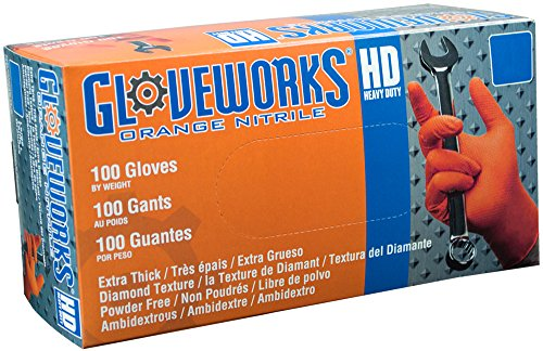 AMMEX - GWON48100 - Nitrile Gloves - Gloveworks - Disposable, Powder Free, 8 mil, XLarge, Orange (Case of 1000) by Ammex