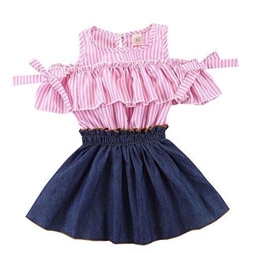 ESHOO Baby Girls Stripe Ruffle Tops Denim Skirt Girls Patchwork Princess Dress One Piece