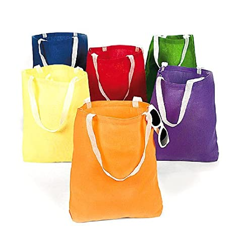 Amazon.com  Canvas Bright Tote Bags (12 Pack) 10