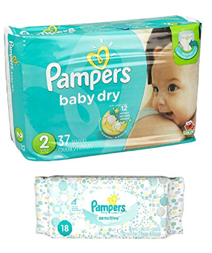 Pampers Baby Dry Size 2 Disposable Diapers - 37 count (3 Layers of Protection) + Sensitive Wipes Travel Pack 18 ct (Size 2 Pampers Sensitive Diapers)
