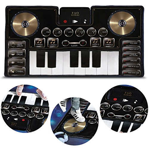 FAO Schwarz Giant Electronic Dance Mat DJ Mixer with Piano Keyboard & Turntable Scratch Pads, Includes Built-in Soundtracks & Vocal & Percussion Sound Effects for Composing & Recording Your Own Music