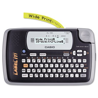 KL-120 Label Maker, 1 Lines, 7-1/2w x 4-1/2d x 2-1/5h by Casio