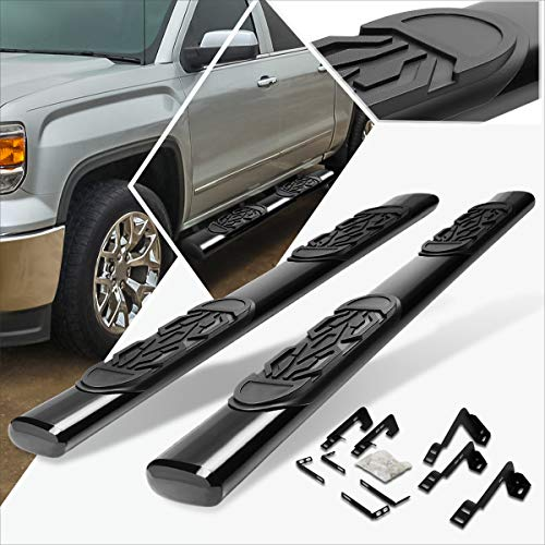 6 Inches Black Oval Running Board Side Step Nerf Bar Compatible with Silverado/Sierra Ext Cab 99-16