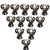 KINGSO 12 PCS Acrylic Crystal Glass Door Knobs Drawer Cabinet Pull Furniture Kitchen Handle -Black