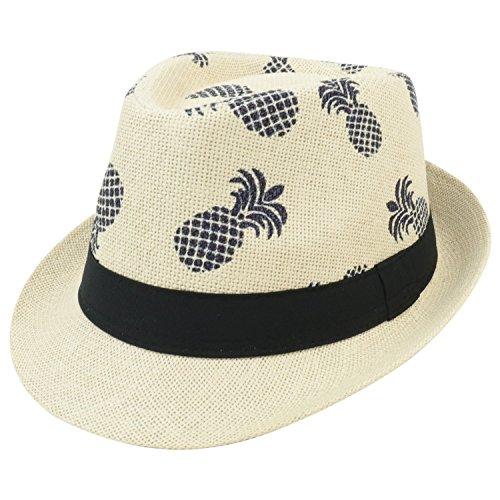 Armycrew Novelty Pineapple Print Paper Straw Summer Fedora Hat - Beige (Print Straw Fedora)